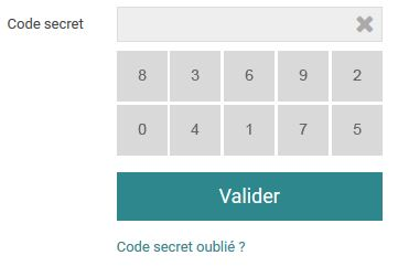 Saisie du code secret
